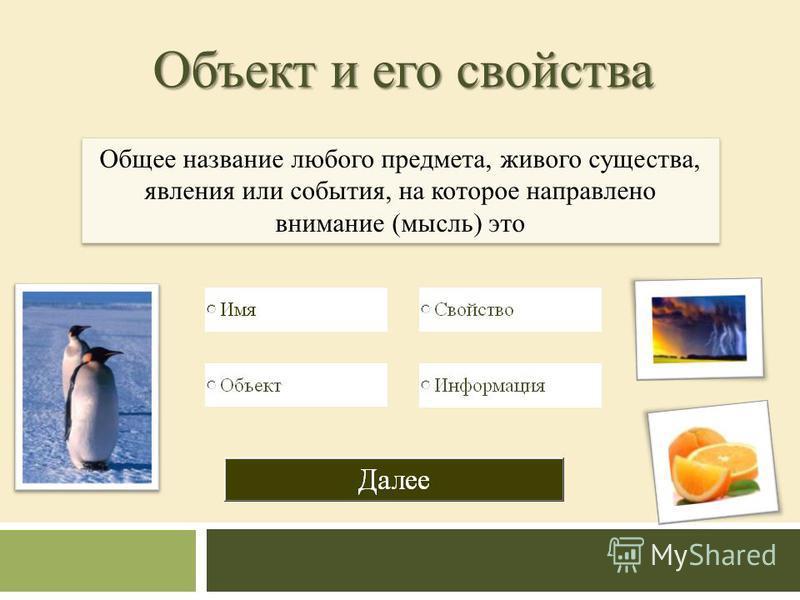 Объект и его свойства Общее название любого предмета, живого существа, явления или события, на которое направлено внимание (мысль) это