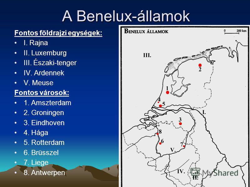A Benelux-államok Fontos földrajzi egységek: I. Rajna II. Luxemburg III. Északi-tenger IV. Ardennek V. Meuse Fontos városok: 1. Amszterdam 2. Groningen 3. Eindhoven 4. Hága 5. Rotterdam 6. Brüsszel 7. Liege 8. Antwerpen