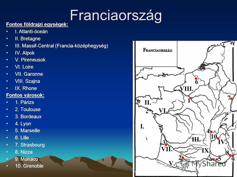 Franciaország Fontos földrajzi egységek: I. Atlanti-óceán II. Bretagne III. Massif-Central (Francia-középhegység) IV. Alpok V. Pireneusok VI. Loire VII. Garonne VIII. Szajna IX. Rhone Fontos városok: 1. Párizs 2. Toulouse 3. Bordeaux 4. Lyon 5. Marse