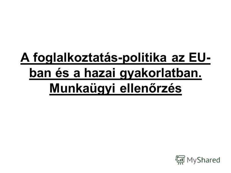 A foglalkoztatás-politika az EU- ban és a hazai gyakorlatban. Munkaügyi ellenőrzés
