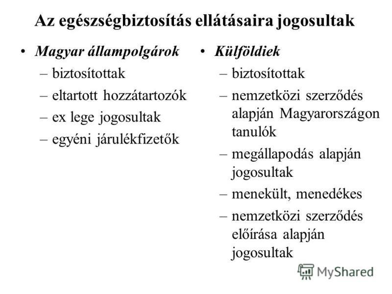 Az egészségbiztosítás ellátásaira jogosultak Magyar állampolgárok –biztosítottak –eltartott hozzátartozók –ex lege jogosultak –egyéni járulékfizetők Külföldiek –biztosítottak –nemzetközi szerződés alapján Magyarországon tanulók –megállapodás alapján