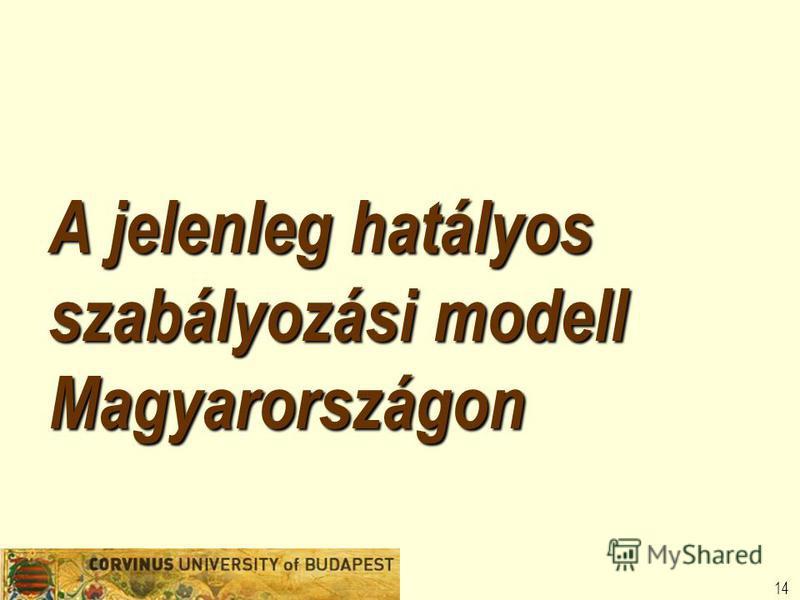 14 A jelenleg hatályos szabályozási modell Magyarországon