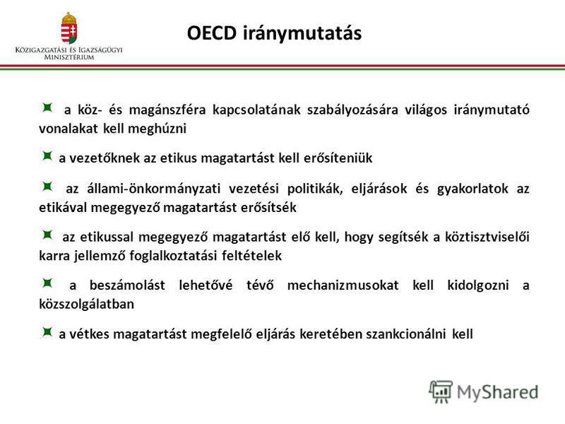 OECD iránymutatás a köz- és magánszféra kapcsolatának szabályozására világos iránymutató vonalakat kell meghúzni a vezetőknek az etikus magatartást kell erősíteniük az állami-önkormányzati vezetési politikák, eljárások és gyakorlatok az etikával mege