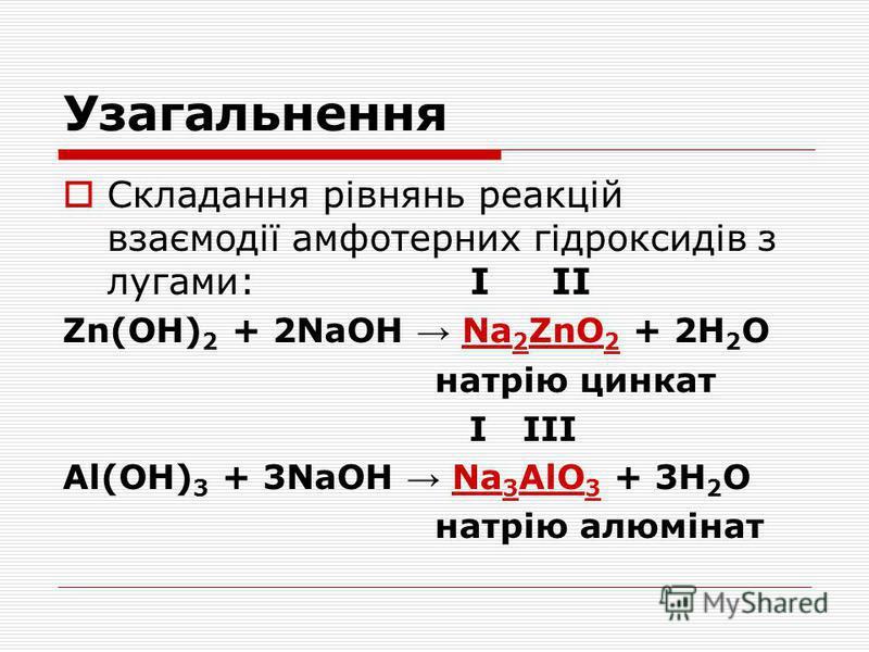 Узагальнення Складання рівнянь реакцій взаємодії амфотерних гідроксидів з лугами: І ІІ Zn(OH) 2 + 2NaOH Na 2 ZnO 2 + 2H 2 O натрію цинкат І ІІІ Al(OH) 3 + 3NaOH Na 3 AlO 3 + 3H 2 O натрію алюмінат