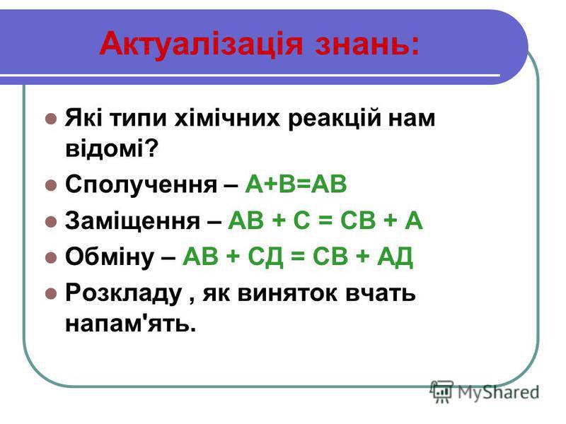 Актуалізація знань: Які типи хімічних реакцій нам відомі? Сполучення – А+В=АВ Заміщення – АВ + С = СВ + А Обміну – АВ + СД = СВ + АД Розкладу, як виняток вчать напам'ять.