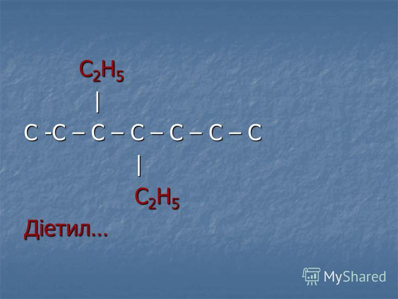 С 2 Н 5 С 2 Н 5 | С -С – С – С – С – С – С | С 2 Н 5 С 2 Н 5Діетил…