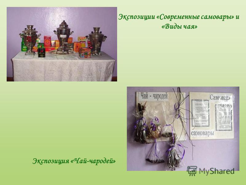 Экспозиция «Чай-чародей» Экспозиции «Современные самовары» и «Виды чая»