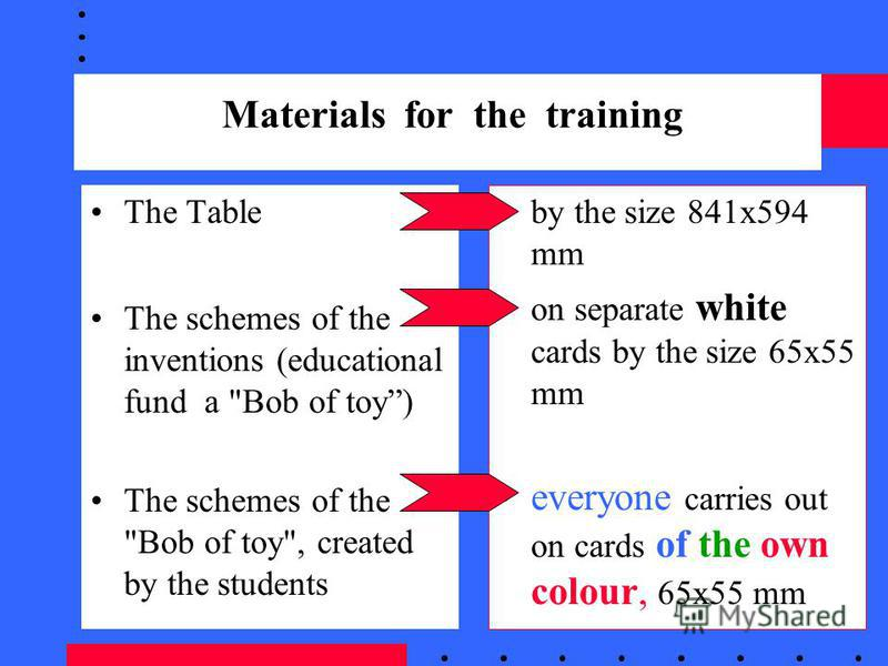 Materials for the training The Table The schemes of the inventions (educational fund a