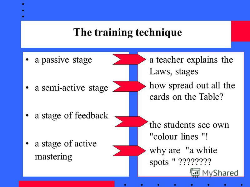 The training technique a passive stage a semi-active stage a stage of feedback a stage of active mastering a teacher explains the Laws, stages how spread out all the cards on the Table? the students see own