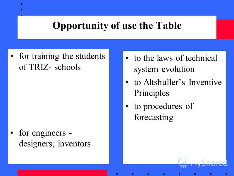 Opportunity of use the Table for training the students of TRIZ- schools for engineers - designers, inventors to the laws of technical system evolution to Altshullers Inventive Principles to procedures of forecasting