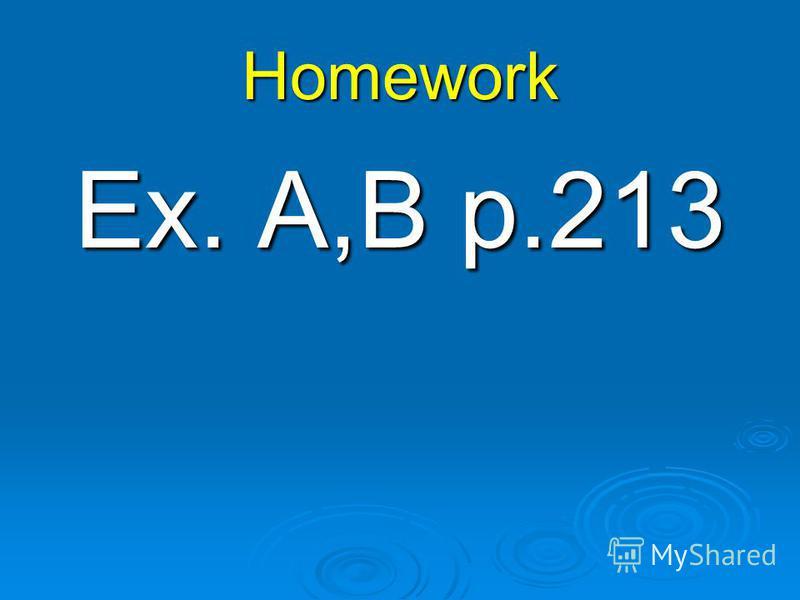 Homework Ex. A,B p.213