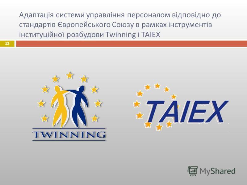 Адаптація системи управління персоналом відповідно до стандартів Європейського Союзу в рамках інструментів інституційної розбудови Twinning і TAIEX 12