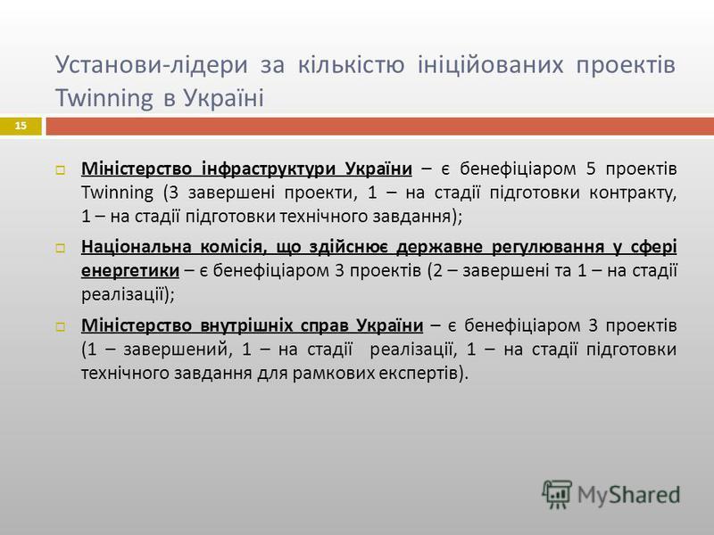 Установи - лідери за кількістю ініційованих проектів Twinning в Україні Міністерство інфраструктури України – є бенефіціаром 5 проектів Twinning (3 завершені проекти, 1 – на стадії підготовки контракту, 1 – на стадії підготовки технічного завдання )