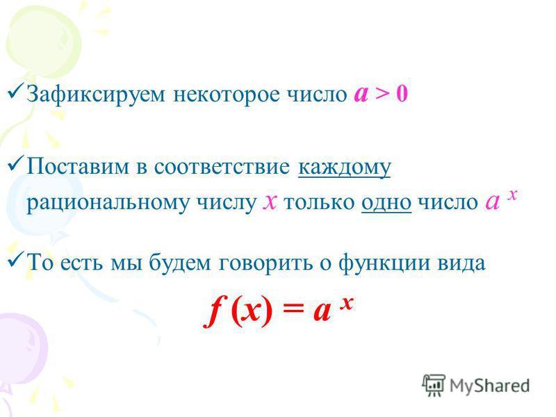 Зафиксируем некоторое число а > 0 Поставим в соответствие каждому рациональному числу х только одно число а х То есть мы будем говорить о функции вида f (x) = a x