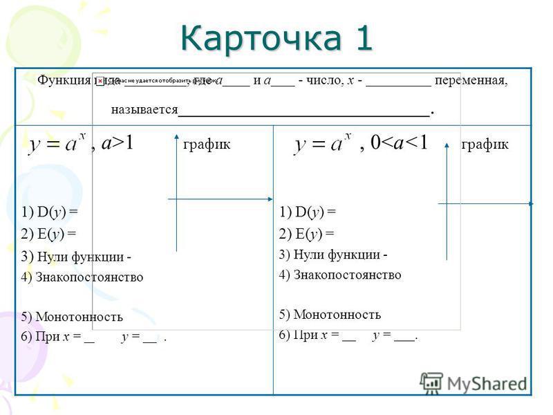 Карточка 1 Функция вида, где а и а - число, х - переменная, называется., а>1 график 1) D(y) = 2) E(y) = 3) Нули функции - 4) Знакопостоянство 5) Монотонность 6) При х = у =., 0<а<1 график 1) D(y) = 2) E(y) = 3) Нули функции - 4) Знакопостоянство 5) М
