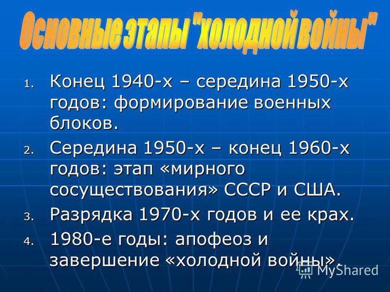 1. Конец 1940-х – середина 1950-х годов: формирование военных блоков. 2. Середина 1950-х – конец 1960-х годов: этап «мирного сосуществования» СССР и США. 3. Разрядка 1970-х годов и ее крах. 4. 1980-е годы: апофеоз и завершение «холодной войны».