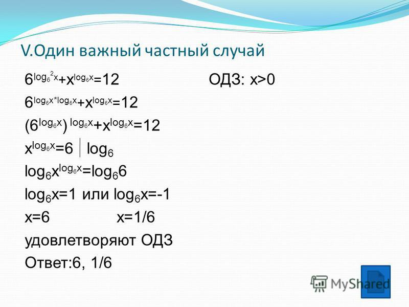 V.Один важный частный случай 6 log 6 2 x + x log 6 x = 12 6 log 6 x*log 6 x + x log 6 x = 12 (6 log 6 x ) log 6 x +x log 6 x =12 x log 6 x =6 log 6 log 6 x log 6 x =log 6 6 log 6 x=1 или log 6 x=-1 x=6 x=1/6 удовлетворяют ОДЗ Ответ:6, 1/6 ОДЗ: x>0