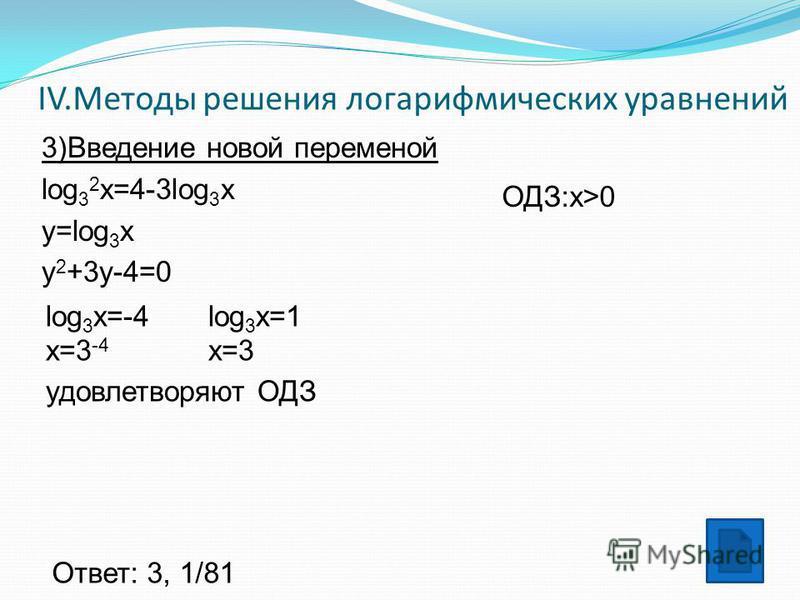 IV.Методы решения логарифмических уравнений 3)Введение новой переменой log 3 2 x=4-3log 3 x y=log 3 x y 2 +3y-4=0 log 3 x=-4 x=3 -4 log 3 x=1 x=3 удовлетворяют ОДЗ Ответ: 3, 1/81 ОДЗ:x>0