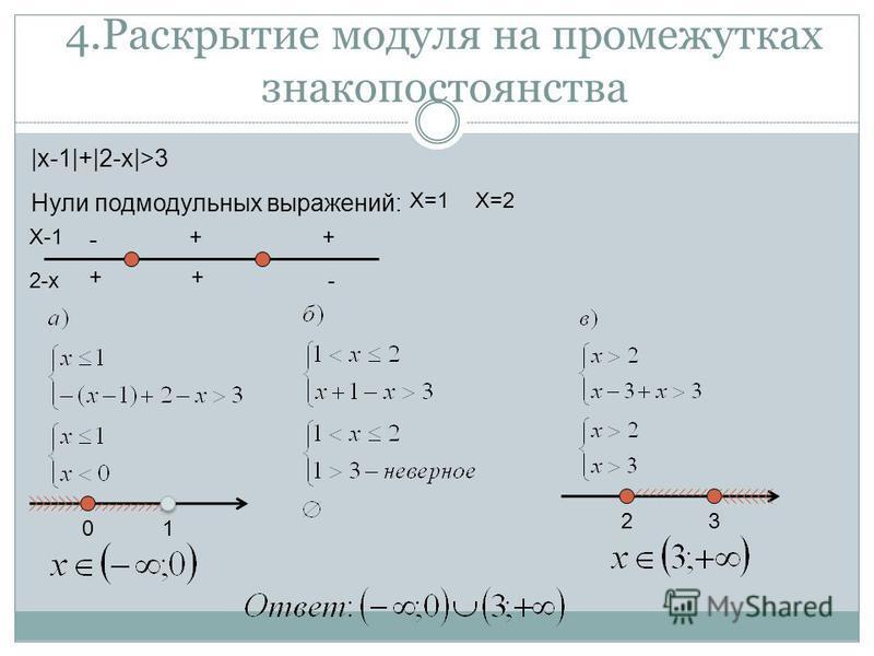 4. Раскрытие модуля на промежутках знакопостоянства |x-1|+|2-x|>3 Нули под модульных выражений: X-1 2-x + - - + ++ X=1X=2 01 23