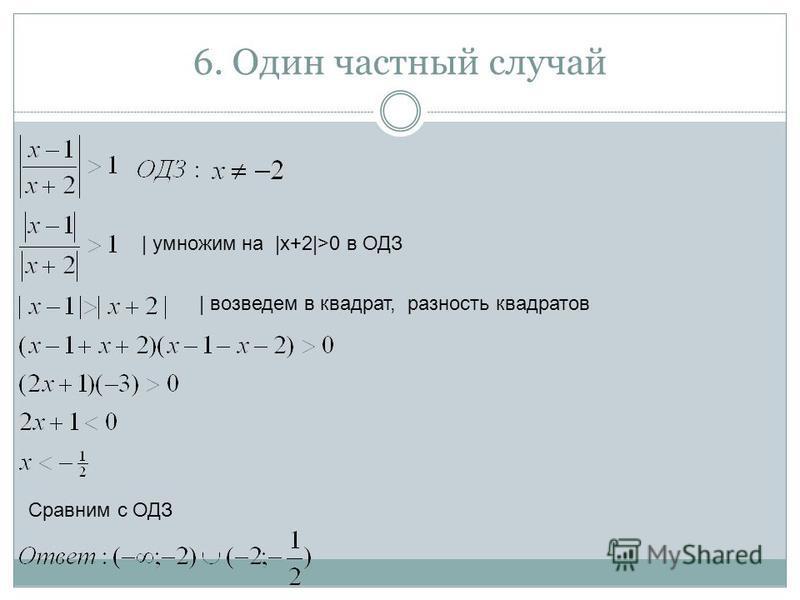 6. Один частный случай | умножим на |x+2|>0 в ОДЗ Сравним с ОДЗ | возведем в квадрат, разность квадратов