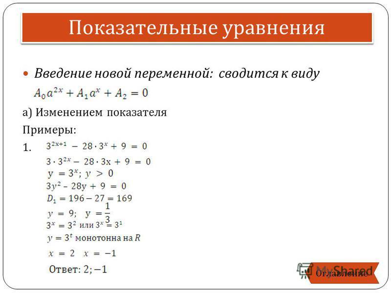 Введение новой переменной : сводится к виду а ) Изменением показателя Примеры : 1. Показательные уравнения Оглавление