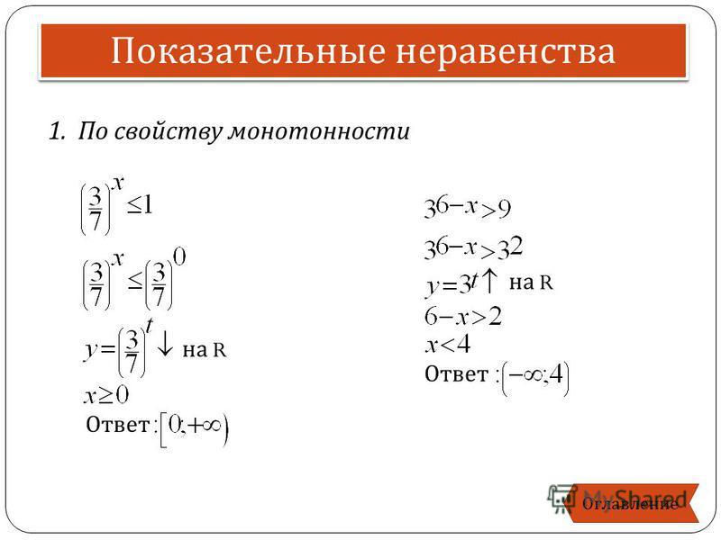 1. По свойству монотонности Показательные неравенства Оглавление на R Ответ на R Ответ