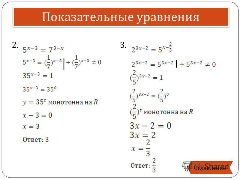 2. 3. Показательные уравнения Оглавление