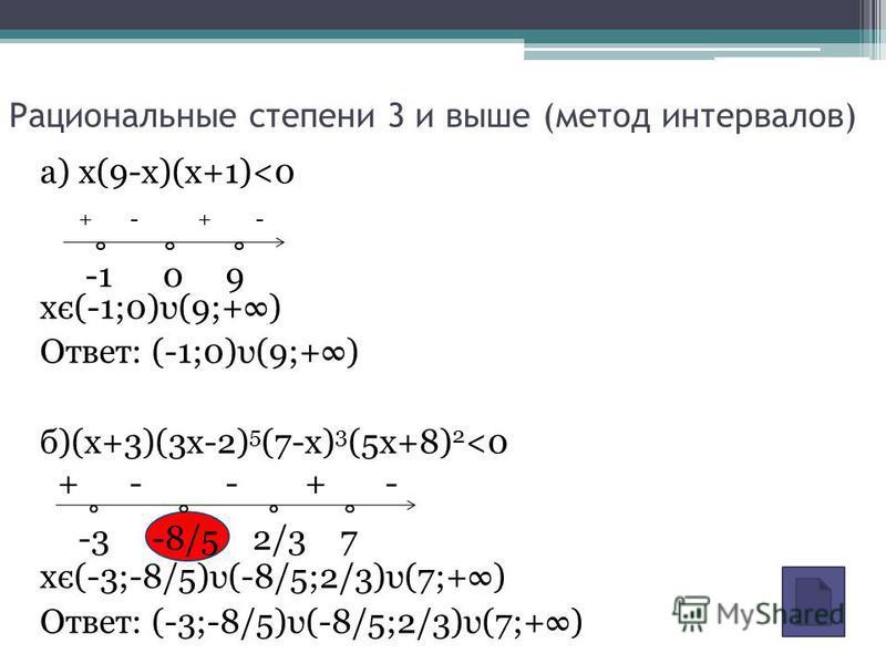 а) x(9-x)(x+1)<0 xє(-1;0)υ(9;+) Ответ: (-1;0)υ(9;+) б)(x+3)(3x-2) 5 (7-x) 3 (5x+8) 2 <0 xє(-3;-8/5)υ(-8/5;2/3)υ(7;+) Ответ: (-3;-8/5)υ(-8/5;2/3)υ(7;+) Рациональные степени 3 и выше (метод интервалов) + - -1 0 9 -3 -8/5 2/3 7 + - - + -