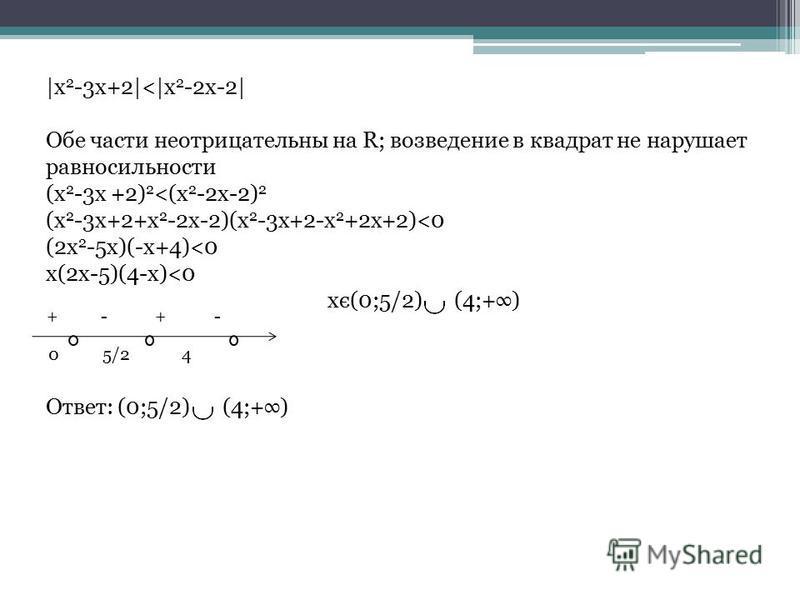 |x 2 -3x+2|<|x 2 -2x-2| Обе части неотрицательны на R; возведение в квадрат не нарушает равносильности (x 2 -3x +2) 2 <(x 2 -2x-2) 2 (x 2 -3x+2+x 2 -2x-2)(x 2 -3x+2-x 2 +2x+2)<0 (2x 2 -5x)(-x+4)<0 x(2x-5)(4-x)<0 xє(0;5/2) (4;+) Ответ: (0;5/2) (4;+) 0