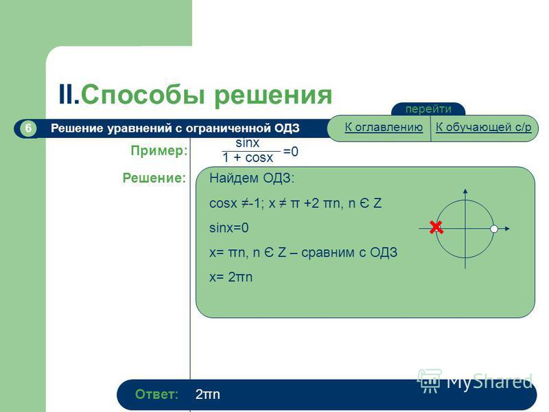 перейти II.Способы решения Решение уравнений с ограниченной ОДЗ6 Пример: Решение: sinx 1 + cosx =0 Найдем ОДЗ: cosx -1; x π +2 πn, n Є Z sinx=0 x= πn, n Є Z – сравним с ОДЗ x= 2πn Ответ:2πn2πn К оглавлениюК обучающей с/р