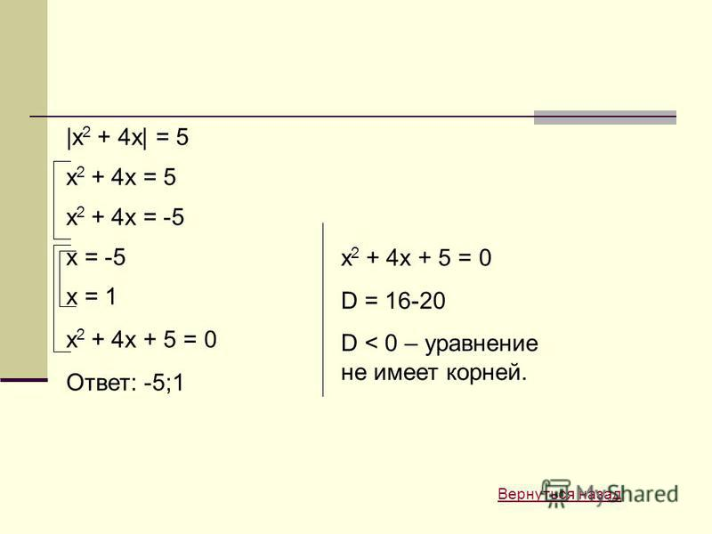 |x 2 + 4x| = 5 x 2 + 4x = 5 x 2 + 4x = -5 x = -5 x = 1 x 2 + 4x + 5 = 0 Ответ: -5;1 x 2 + 4x + 5 = 0 D = 16-20 D < 0 – уравнение не имеет корней. Вернуться назад