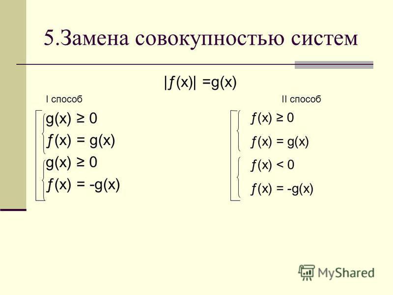 5. Замена совокупностью систем |ƒ(x)| =g(х) I способ II способ g(х) 0 ƒ(x) = g(х) g(х) 0 ƒ(x) = -g(х) ƒ(x) 0 ƒ(x) = g(х) ƒ(x) < 0 ƒ(x) = -g(х)