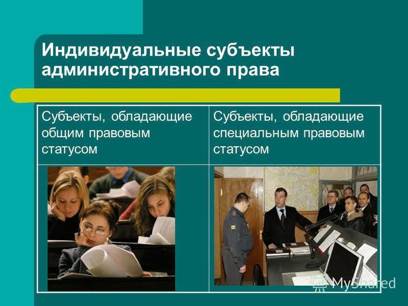 Индивидуальные субъекты административного права Субъекты, обладающие общим правовым статусом Субъекты, обладающие специальным правовым статусом