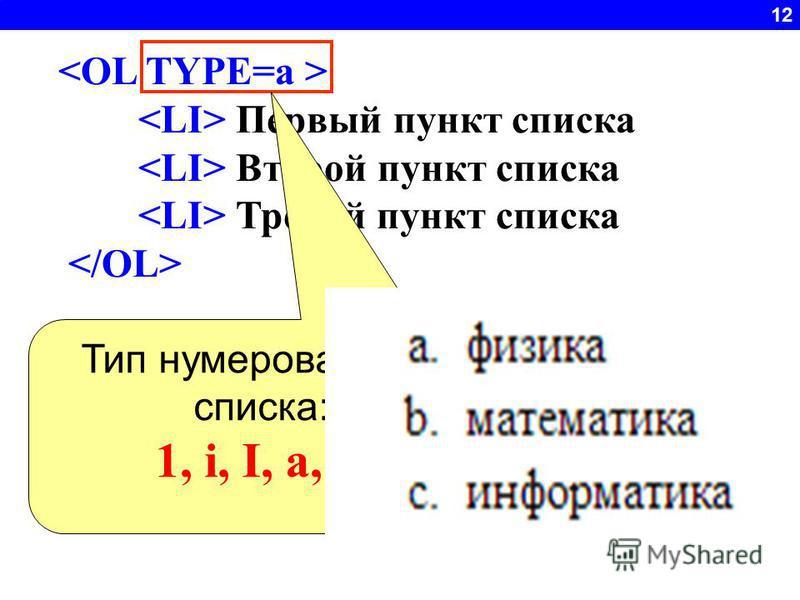 12 Первый пункт списка Второй пункт списка Третий пункт списка Тип нумерованного списка: 1, i, I, a, A