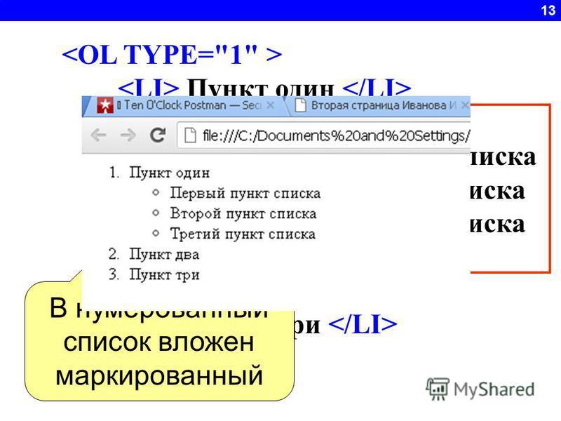 13 Пункт один Первый пункт списка Второй пункт списка Третий пункт списка Пункт два Пункт три В нумерованный список вложен маркированный
