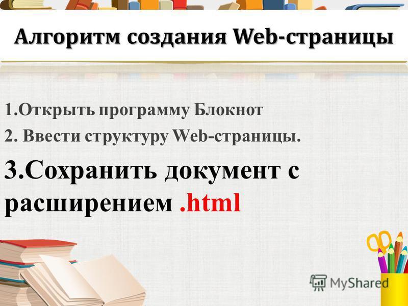 Алгоритм создания Web-страницы 1. Открыть программу Блокнот 2. Ввести структуру Web-страницы. 3. Сохранить документ с расширением.html