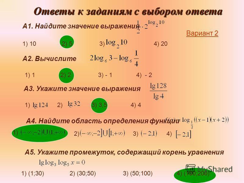 Ответы к заданиям с выбором ответа А1. Найдите значение выражения 1) 10 2) 5 3) 4) 20 А2. Вычислите 1) 1 2) 2 3) - 1 4) - 2 А3. Укажите значение выражения 1) 2) 3) 3,5 4) 4 А4. Найдите область определения функции 1) 2)3)4) А5. Укажите промежуток, сод