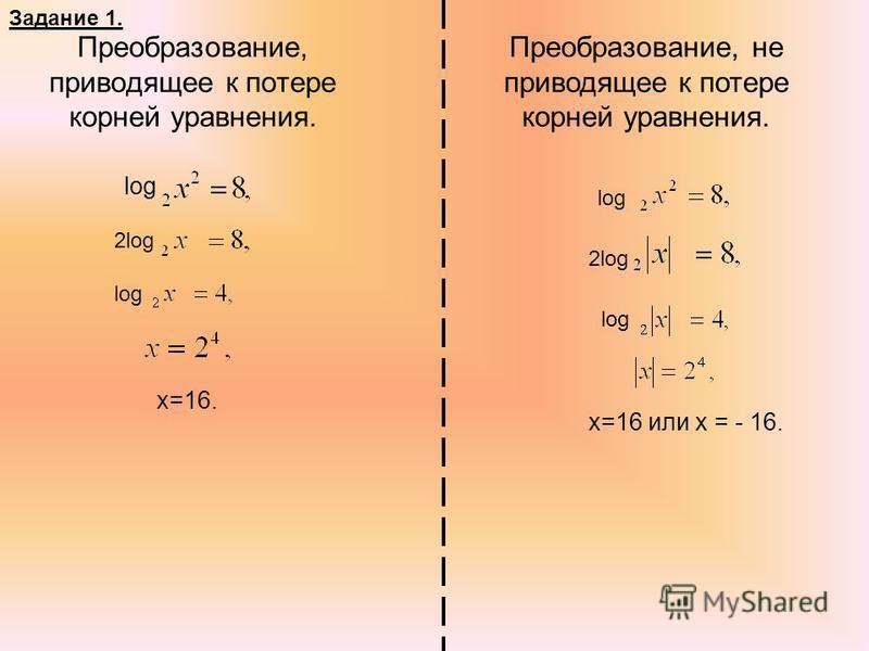 Преобразование, приводящее к потере корней уравнения. Преобразование, не приводящее к потере корней уравнения. log 2log log х=16. log 2log log х=16 или х = - 16. Задание 1.