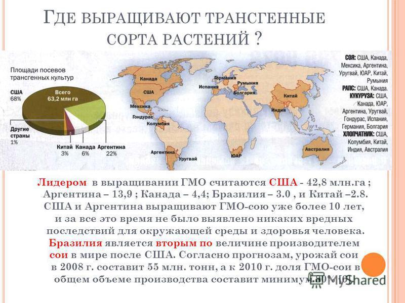 Г ДЕ ВЫРАЩИВАЮТ ТРАНСГЕННЫЕ СОРТА РАСТЕНИЙ ? Лидером в выращивании ГМО считаются США - 42,8 млн.га ; Аргентина – 13,9 ; Канада – 4,4; Бразилия – 3.0, и Китай –2.8. США и Аргентина выращивают ГМО-сою уже более 10 лет, и за все это время не было выявле