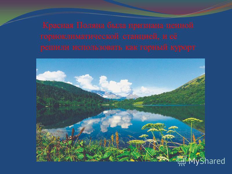 Красная Поляна была признана ценной горноклиматической станцией, и её решили использовать как горный курорт