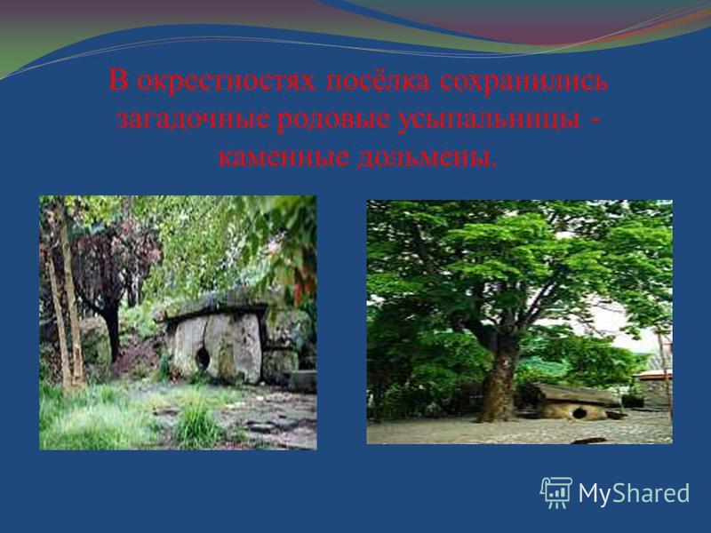 В окрестностях посёлка сохранились загадочные родовые усыпальницы - каменные дольмены.