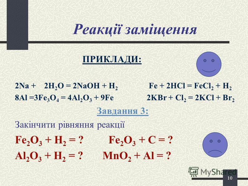 9 Реакції розкладу ПРИКЛАДИ: 2KClO 3 = 2KCl + 3O 2 2KMnO 4 = K 2 MnO 4 + MnO 2 + O 2 2H 2 O 2 = 2H 2 O + O 2 ЗАВДАННЯ 2:ЗАВДАННЯ 2: В якому рівнянні невірно розставлені коефіцієнти? CaCO 3 = CaO + CO 2 2NH 3 =N 2 + 2H 2 Cu(OH) 2 = t CuO + H 2 O NH 4