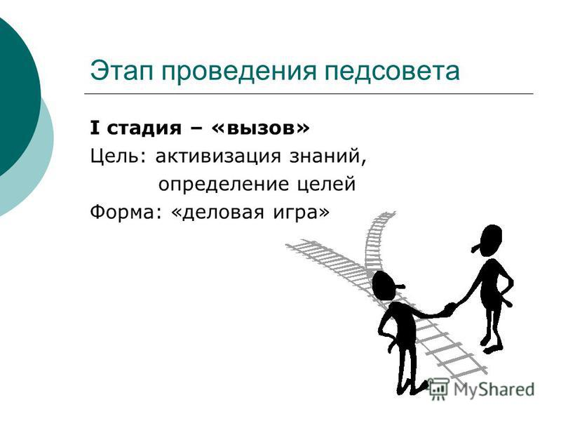 Этап проведения педсовета I стадия – «вызов» Цель: активизация знаний, определение целей Форма: «деловая игра»