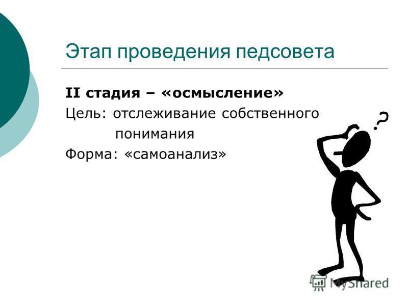 Этап проведения педсовета II стадия – «осмысление» Цель: отслеживание собственного понимания Форма: «самоанализ»