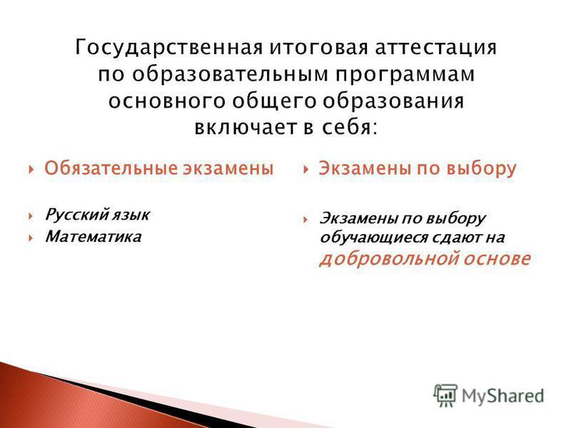 Обязательные экзамены Русский язык Математика Экзамены по выбору Экзамены по выбору обучающиеся сдают на добровольной основе
