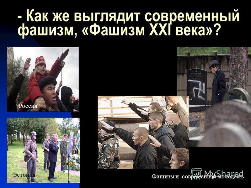 - Как же выглядит современный фашизм, «Фашизм ХХI века»? Эстония Россия Фашизм и современная молодёжь