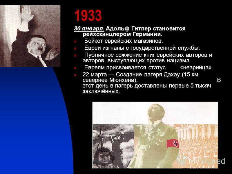 1933 30 января. Адольф Гитлер становится рейхсканцлером Германии. Бойкот еврейских магазинов. Евреи изгнаны с государственной службы. Публичное сожжение книг еврейских авторов и авторов. выступающих против нацизма. Евреям присваивается статус «не ари