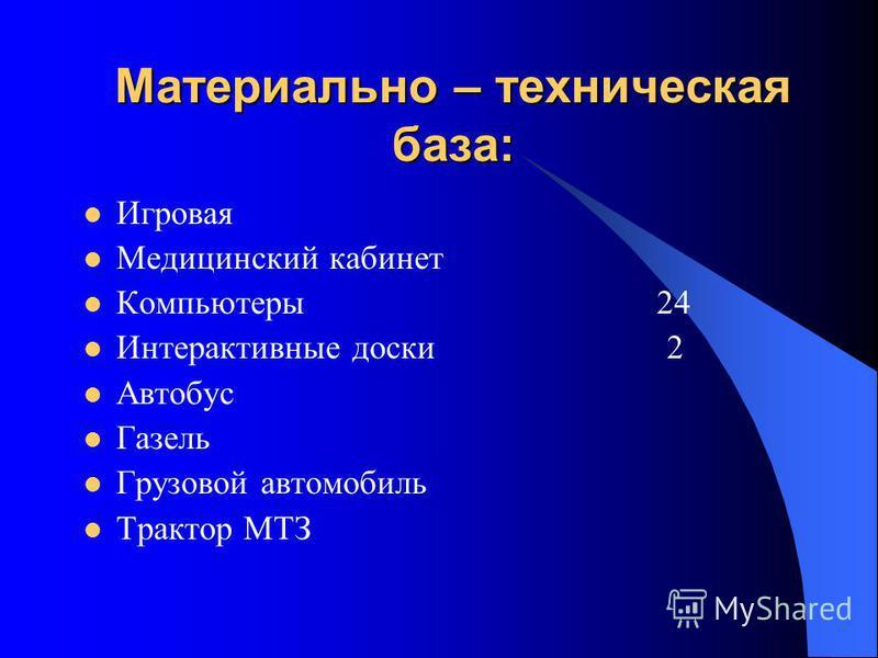 Материально – техническая база: Игровая Медицинский кабинет Компьютеры 24 Интерактивные доски 2 Автобус Газель Грузовой автомобиль Трактор МТЗ