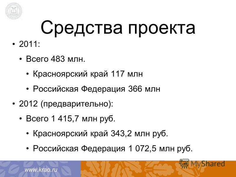 Средства проекта 2011: Всего 483 млн. Красноярский край 117 млн Российская Федерация 366 млн 2012 (предварительно): Всего 1 415,7 млн руб. Красноярский край 343,2 млн руб. Российская Федерация 1 072,5 млн руб.