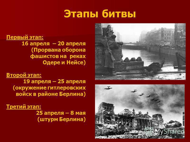 Этапы битвы Первый этап: 16 апреля – 20 апреля (Прорвана оборона фашистов на реках Одере и Нейсе) Второй этап: 19 апреля – 25 апреля (окружение гитлеровских войск в районе Берлина) Третий этап: 25 апреля – 8 мая (штурм Берлина)
